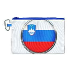 Slovenia Flag Mountains Country Canvas Cosmetic Bag (large)