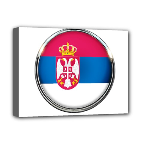 Serbia Flag Icon Europe National Deluxe Canvas 16  X 12