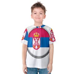 Serbia Flag Icon Europe National Kids  Cotton Tee
