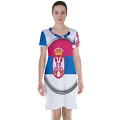 Serbia Flag Icon Europe National Short Sleeve Nightdress