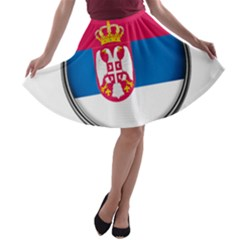 Serbia Flag Icon Europe National A Line Skater Skirt