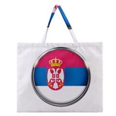 Serbia Flag Icon Europe National Zipper Large Tote Bag