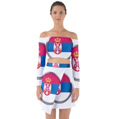 Serbia Flag Icon Europe National Off Shoulder Top With Skirt Set