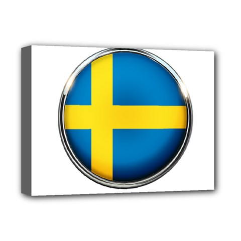 Sweden Flag Country Countries Deluxe Canvas 16  X 12