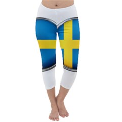 Sweden Flag Country Countries Capri Winter Leggings
