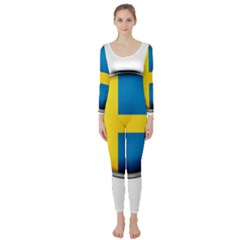 Sweden Flag Country Countries Long Sleeve Catsuit