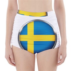 Sweden Flag Country Countries High Waisted Bikini Bottoms