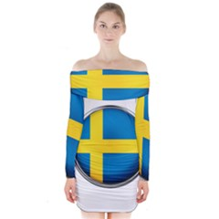 Sweden Flag Country Countries Long Sleeve Off Shoulder Dress