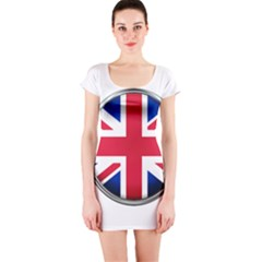 United Kingdom Country Nation Flag Short Sleeve Bodycon Dress