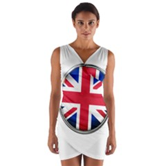 United Kingdom Country Nation Flag Wrap Front Bodycon Dress