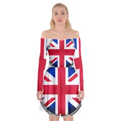 United Kingdom Country Nation Flag Off Shoulder Skater Dress