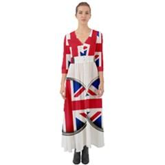 United Kingdom Country Nation Flag Button Up Boho Maxi Dress
