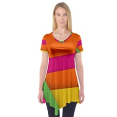 Background Abstract Short Sleeve Tunic
