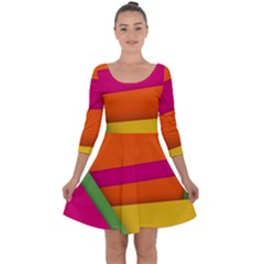 Background Abstract Quarter Sleeve Skater Dress