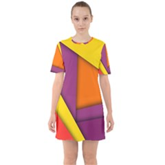 Background Abstract Sixties Short Sleeve Mini Dress