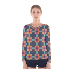 Squares Geometric Abstract Background Women s Long Sleeve Tee