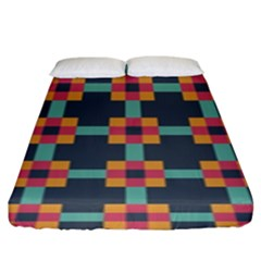 Squares Geometric Abstract Background Fitted Sheet (king Size)