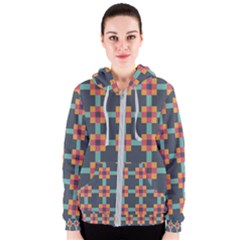 Squares Geometric Abstract Background Women s Zipper Hoodie