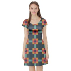 Squares Geometric Abstract Background Short Sleeve Skater Dress