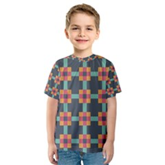 Squares Geometric Abstract Background Kids  Sport Mesh Tee