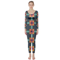 Squares Geometric Abstract Background Long Sleeve Catsuit