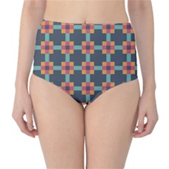 Squares Geometric Abstract Background High Waist Bikini Bottoms
