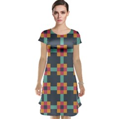 Squares Geometric Abstract Background Cap Sleeve Nightdress