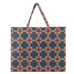 Squares Geometric Abstract Background Zipper Large Tote Bag