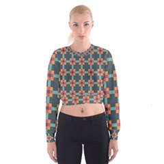 Squares Geometric Abstract Background Cropped Sweatshirt