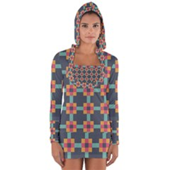 Squares Geometric Abstract Background Long Sleeve Hooded T Shirt