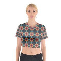 Squares Geometric Abstract Background Cotton Crop Top