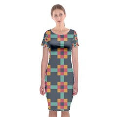 Squares Geometric Abstract Background Classic Short Sleeve Midi Dress