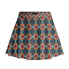 Squares Geometric Abstract Background Mini Flare Skirt