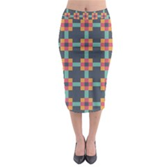 Squares Geometric Abstract Background Midi Pencil Skirt