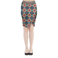 Squares Geometric Abstract Background Midi Wrap Pencil Skirt