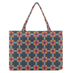 Squares Geometric Abstract Background Zipper Medium Tote Bag