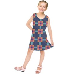 Squares Geometric Abstract Background Kids  Tunic Dress