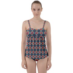 Squares Geometric Abstract Background Twist Front Tankini Set