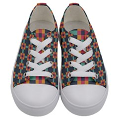 Squares Geometric Abstract Background Kids  Low Top Canvas Sneakers