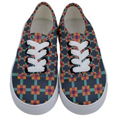 Squares Geometric Abstract Background Kids  Classic Low Top Sneakers