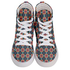 Squares Geometric Abstract Background Men s Hi Top Skate Sneakers