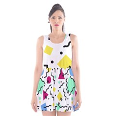 Art Background Abstract Unique Scoop Neck Skater Dress