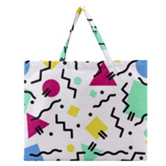 Art Background Abstract Unique Zipper Large Tote Bag