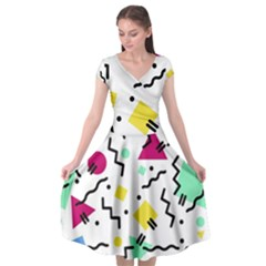 Art Background Abstract Unique Cap Sleeve Wrap Front Dress