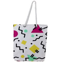 Art Background Abstract Unique Full Print Rope Handle Tote (large)