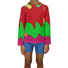 Liquid Forms Water Background Kids  Long Sleeve Swimwear