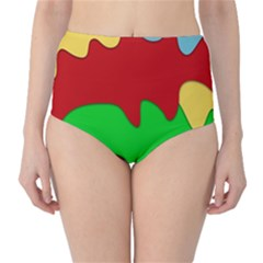 Liquid Forms Water Background High Waist Bikini Bottoms