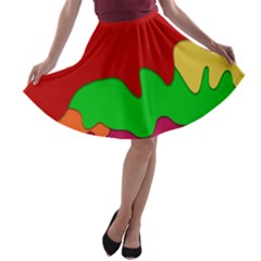 Liquid Forms Water Background A Line Skater Skirt