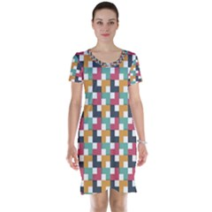 Background Abstract Geometric Short Sleeve Nightdress