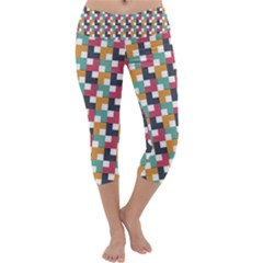 Background Abstract Geometric Capri Yoga Leggings